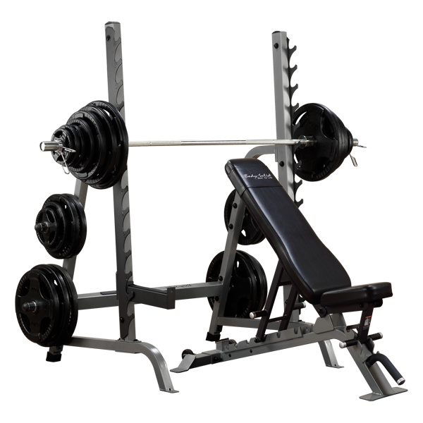 Free Weights On Bench: Body-Solid Bench Rack Combo