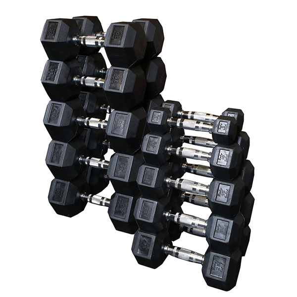 Sdrs Rubber Coated Hex Dumbbell Sets Body Solid Fitness