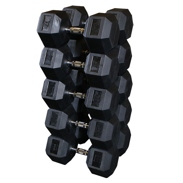 Rubber Dumbbell Set: Rubber Coated Hex Dumbbell Sets