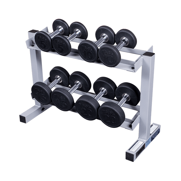 Pdr282x Powerline Dumbbell Rack W Optional Rubber Dumbells Round