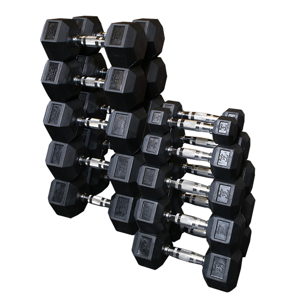 SDRS - Rubber Coated Hex Dumbbell Sets